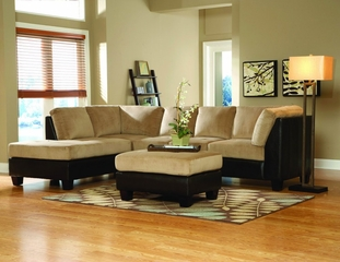 Sectional in Brown Bella Microfiber / Bi-cast Vinyl - 9838BR