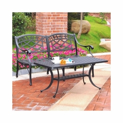 Sedona 2 Piece Aluminum Outdoor Conversation Set - Black Loveseat and Cocktail Table - CROSLEY-KO60005BK