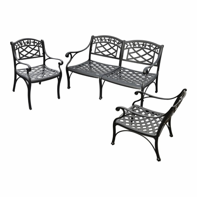 Sedona 3 Piece Aluminum Outdoor Conversation Set - Black Loveseat and 2 Club Chairs - CROSLEY-KO60002BK