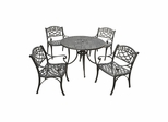 "Sedona 42"" 5 Piece Black Aluminum Outdoor Dining Set with Arm Chairs - CROSLEY-KOD6003BK"
