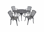 "Sedona 42"" 5 Piece Black Aluminum Outdoor Dining Set with High Back Arm Chairs - CROSLEY-KOD6004BK"