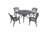 "Sedona 48"" 5 Piece Black Aluminum Outdoor Dining Set with Arm Chairs - CROSLEY-KOD6001BK"