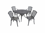 "Sedona 48"" 5 Piece Black Aluminum Outdoor Dining Set with High Back Arm Chairs - CROSLEY-KOD6002BK"
