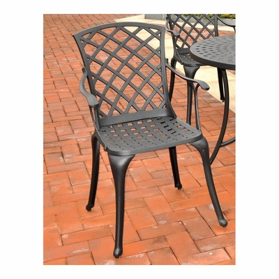 Sedona Cast Aluminum High Back Arm Chair in Charcoal Black - Set of 2 - CROSLEY-CO6102-BK