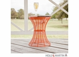 SEI Indoor/Outdoor Round Metal Accent Table, 18.5 Inch - Orange