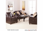SEI Montfort Sofa / Love / Chair 3pc Set - Chocolate