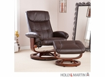 SEI Recliner and Ottoman - Caf� Brown Bonded Leather, U-Base