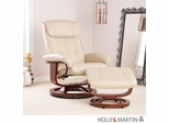 SEI Recliner and Ottoman - Taupe Bonded Leather, U-Base