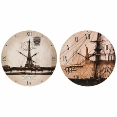 Sepia Cities Wall Clocks (Set of 2) - IMAX - 37006-2