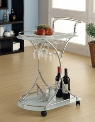 Serving Cart with 2 Frosted Glass Shelves - 910002