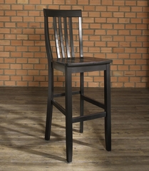 (Set of 2) School House Bar Stool in Black Finish with 30 Inch Seat Height - Crosley Furniture - CF500330-BK