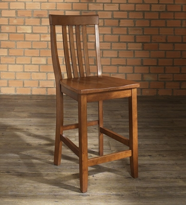 (Set of 2) School House Bar Stool in Classic Cherry Finish with 24 Inch Seat Height - Crosley Furniture - CF500324-CH