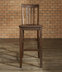 (Set of 2) School House Bar Stool in Mahogany Finish with 30 Inch Seat Height - Crosley Furniture - CF500330-MA