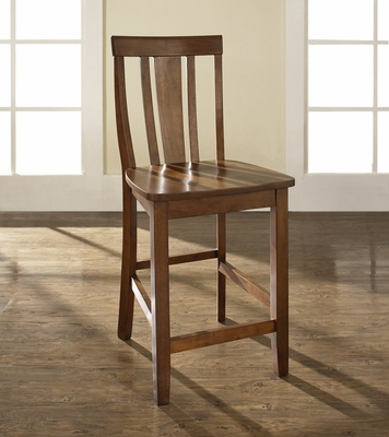 (Set of 2) Shield Back Bar Stool in Classic Cherry Finish with 24 Inch Seat Height - Crosley Furniture - CF500124-CH