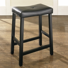 (Set of 2) Upholstered Saddle Seat Bar Stool in Black Finish with 24 Inch Seat Height - Crosley Furniture - CF500224-BK