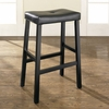 (Set of 2) Upholstered Saddle Seat Bar Stool in Black Finish with 29 Inch Seat Height - Crosley Furniture - CF500229-BK