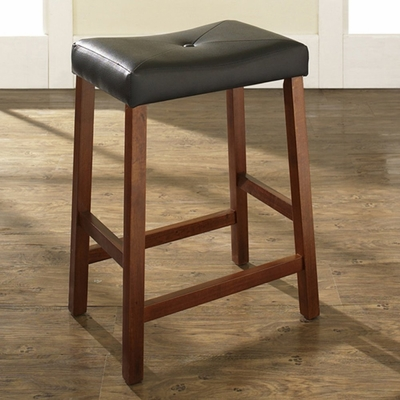 (Set of 2) Upholstered Saddle Seat Bar Stool in Classic Cherry Finish with 24 Inch Seat Height - Crosley Furniture - CF500224-CH