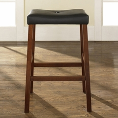 (Set of 2) Upholstered Saddle Seat Bar Stool in Classic Cherry Finish with 29 Inch Seat Height - Crosley Furniture - CF500229-CH