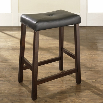 (Set of 2) Upholstered Saddle Seat Bar Stool in Vintage Mahogany Finish with 24 Inch Seat Height - Crosley Furniture - CF500224-MA