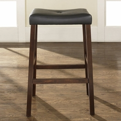 (Set of 2) Upholstered Saddle Seat Bar Stool in Vintage Mahogany Finish with 29 Inch Seat Height - Crosley Furniture - CF500229-MA