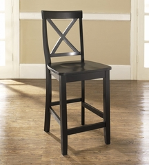 (Set of 2) X-Back Bar Stool in Black Finish with 24 Inch Seat Height - Crosley Furniture - CF500424-BK