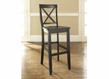 (Set of 2) X-Back Bar Stool in Black Finish with 30 Inch Seat Height - Crosley Furniture - CF500430-BK