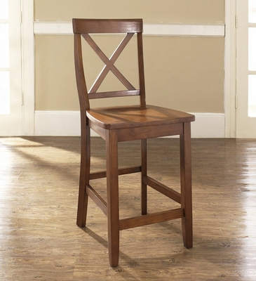 (Set of 2) X-Back Bar Stool in Classic Cherry Finish with 24 Inch Seat Height - Crosley Furniture - CF500424-CH