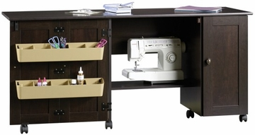 Sewing Craft Cart with Drop Leaf and Storage Cinnamon Cherry - Sauder Furniture - 411615