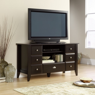 Shoal Creek Entertainment Credenza Jamocha Wood - Sauder Furniture - 409732