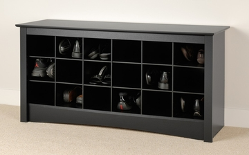 Shoe Storage Cubbie Bench in Black - Prepac Furniture - BSS-4824