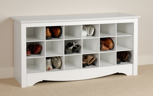 Shoe Storage Cubbie Bench in White - Prepac Furniture - WSS-4824