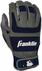 Shok-Sorb PRO Series Adult Batting Glove Grey / Navy - Franklin Sports
