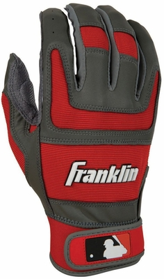 Shok-Sorb PRO Series Adult Batting Glove Grey / Red - Franklin Sports