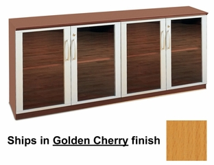 Short Cabinet with Glass Doors in Golden Cherry - Mayline Office Furniture - VLCGGCH