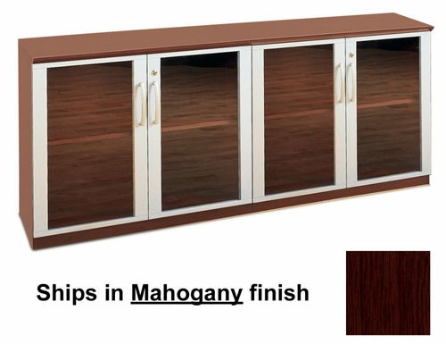 Short Cabinet with Glass Doors in Mahogany - Mayline Office Furniture - VLCGMAH