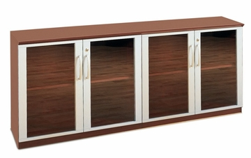 Short Cabinet with Glass Doors in Sierra Cherry - Mayline Office Furniture - VLCGCRY