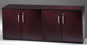 Short Cabinet with Wood Doors in Mahogany - Mayline Office Furniture - VLCWMAH