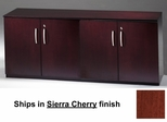 Short Cabinet with Wood Doors in Sierra Cherry - Mayline Office Furniture - VLCWCRY