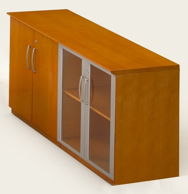 Short Cabinet with Wood/Glass Door in Golden Cherry - Mayline Office Furniture - VLCGCH