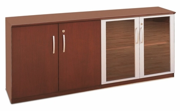 Short Cabinet with Wood/Glass Door in Sierra Cherry - Mayline Office Furniture - VLCCRY