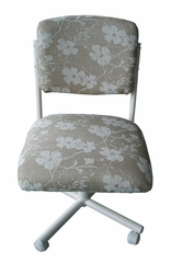 Side Chair (Set of 2) in Almond Metal Frame / White Floral Pattern on Tan Fabric - C108-30ZP