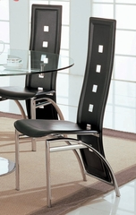 Side Chair (Set of 2) in Silver / Black Leather - Coaster