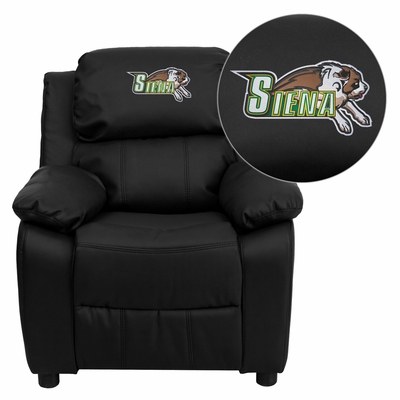Siena College Saints Embroidered Black Leather Kids Recliner - BT-7985-KID-BK-LEA-41069-EMB-GG