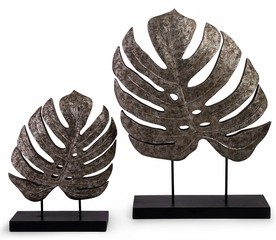 Silver Antiqued Leaves (Set of 2) - IMAX - 13424-2