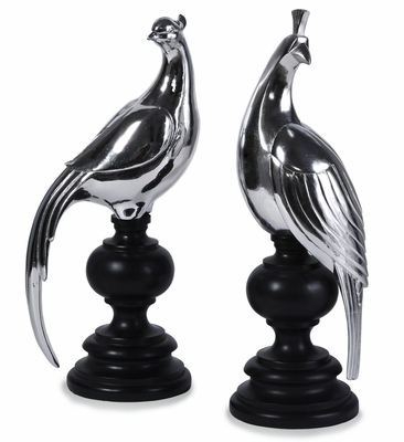 Silver Peacocks (Set of 2) - IMAX - 1410-2