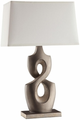 Silver Table Lamp with White Shade - Set of 2 - 901469