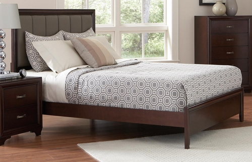 Simone Upholstered King Bed in Cappuccino - 202181KE