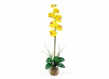 Single Phalaenopsis Liquid Illusion Silk Flower Arrangement in Yellow - Nearly Natural - 1104-YL