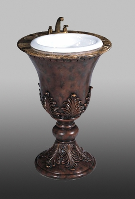 Sink Pedestal in Medium Brown / Silver Leaf - P5416-03A