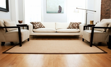 Sisal Rug - 2' x 3' - Sisal Boucle Weave with Brown Cotton Border - AMB0108-0023